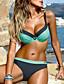 ราคาถูก ชุดบิกินี-สำหรับผู้หญิง บิกินี่ ชุดว่ายน้ำ Push Up ลายแถบ ชุดว่ายน้ำ ชุดว่ายน้ำ สีน้ำเงิน สีเหลือง ส้ม / รองพื้นบรา