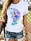 cheap Women's T-shirts-Women's T-shirt Graphic Prints Round Neck Tops Loose 100% Cotton White