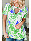 cheap Women's T-shirts-Women's T-shirt Floral Round Neck Tops Loose Summer Wine Blue Purple