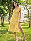 preiswerte Bedruckte Kleider-Damen Swing Kleid Midikleid - Kurzarm Blumen Gespleisst Druck Sommer Schulterfrei Freizeit 2020 Gelb Grün S M L XL
