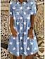 cheap Denim Dresses-Women's Denim Shirt Dress Knee Length Dress Blue Short Sleeve Star Button Front Print Summer Shirt Collar Casual 2021 M L XL XXL 3XL