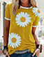 cheap Women's T-shirts-Women's T-shirt Floral Daisy Round Neck Tops Loose Cotton Basic Top Blue Red Yellow
