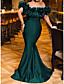 cheap Evening Dresses-Mermaid / Trumpet Elegant Sexy Engagement Formal Evening Dress Off Shoulder Short Sleeve Sweep / Brush Train Stretch Satin with Sleek 2020