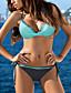 billiga Bikiniset-Dam Bikini 2 st Baddräkt Spetsknuten Tryck upp Färgblock Ljusblå Rodnande Rosa Fuchsia Svart Ljusgrön Badkläder Halterneck Baddräkter Ny Ledigt / Vadderad behå / Strand