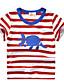 cheap Boys' Tops-Kids Boys' Street chic Striped Animal Short Sleeve Tee Red
