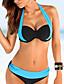 billige Bikinisett-Dame Bikini Badedrakt Dytt opp Fargeblokk Lyseblå Hvit Marineblå Grå Badetøy Badedrakter