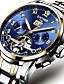 baratos Os mais vendidos-KINYUED Homens Relógio Esqueleto relógio mecânico Automático - da corda automáticamente Luxo Impermeável Preta / Prata Dourado / Branco Dourado Preto / Azul / Aço Inoxidável / Calendário