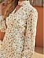 cheap Casual Dresses-Women's Shift Dress Short Mini Dress - Long Sleeve Floral Ruffle Print Fall Winter Halter Neck Casual Going out Lantern Sleeve Chiffon 2020 Beige S M L XL