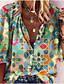 billige Bluser-Dame Bluse Skjorte Abstrakt Blomstret Blomsternål i krystall Langermet Trykt mønster V-hals Topper Grunnleggende Grunnleggende topp Blå / Grønn Svart Blå