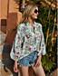cheap Women's Plus Size Tops-Women's Blouse Shirt Floral Flower Long Sleeve Print V Neck Basic Tops Green