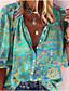 זול חולצות ומכנסיים לנשים-בגדי ריקוד נשים חולצה פרחוני מופשט פרח שרוול ארוך דפוס צווארון V בסיסי צמרות כחול וירוק אדום ירוק