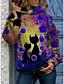 Χαμηλού Κόστους Γυναικείες Μπλούζες με Κουκούλα & Φούτερ-Γυναικεία Φούτερ με Κουκούλα Κάνε στην άκρη Φλοράλ Γάτα Δετοβαμένο Καθημερινά Βασικό Καθημερινό Φούτερ Φούτερ Βαμβάκι Θαλασσί Βυσσινί Κίτρινο