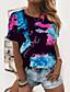 voordelige Dames T-shirts-Dames T-shirt Grafisch Tie Dye Tekst Opdruk Ronde hals Basic Tops Blozend Roze Zwart