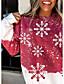 رخيصةأون كنزات هودي وسويتشيرت نسائي-نسائي هوديي كنزة الرسم ندفة ثلجية عيد الميلاد مناسب للبس اليومي كاجوال عيد الميلاد هوديس بلوزات رمادي أحمر