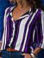 cheap Women's Blouses & Shirts-Women's Blouse Shirt Striped Long Sleeve Shirt Collar Tops Cotton Basic Basic Top Black Purple Wine