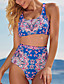 cheap Bikini Sets-Women's Tankini 2 Piece Swimsuit Hollow Out Open Back Hole Tribal Floral Blue Swimwear Blouse T shirt Strap Bathing Suits New Fashion Sexy / Party / Leaf / Print