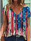 cheap Women's T-shirts-Women's T shirt Flag Print V Neck Tops Cotton Basic Basic Top Rainbow