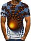 Χαμηλού Κόστους Ανδρικά μπλουζάκια και φανελάκια-Ανδρικά Μπλουζάκι Πουκάμισο 3D εκτύπωση Γεωμετρικό 3D εκτύπωση Στάμπα Κοντομάνικο Causal Άριστος Καθημερινό Μοντέρνα Στρογγυλή Λαιμόκοψη Λευκό