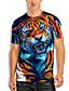 abordables T-shirts & Débardeurs Homme-Homme T-Shirts T-shirt Impression 3D Imprimés Photos tigre Animal Imprimé Manches Courtes Quotidien Hauts basique Simple Bleu
