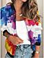preiswerte Damen Jacken-Damen Jacke Ausgehen Frühling & Herbst Standard Mantel Ständer Lose 3D-Druck Aktiv Jacken Langarm Einfarbig Patchwork Regenbogen / Arbeit
