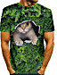 Χαμηλού Κόστους Ανδρικά μπλουζάκια και φανελάκια-Ανδρικά Κοντομάνικα Μπλουζάκι Πουκάμισο 3D εκτύπωση Γάτα Γραφικά Σχέδια Ζώο Μεγάλα Μεγέθη 3D Στάμπα Κοντομάνικο Causal Άριστος Κομψό στυλ street Στενή Εφαρμογή Προπόνηση Στρογγυλή Λαιμόκοψη
