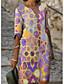levne Tričkové šaty-Dámské Plášťové šaty Šaty ke kolenům Vodní modrá Fialová Trávová zelená Rubínově červená Poloviční rukáv Zářící barvy Geometrický Tisk Jaro Léto Do V Elegantní Na běžné nošení Dovolená Volné 2021 S M