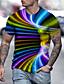 저렴한 남성 티셔츠&탱크 탑-남성용 티셔츠 T 셔츠 3D 인쇄 그래픽 3D 인쇄 프린트 짧은 소매 일상 탑스 베이직 과장된 라운드 넥 퍼플 루비 클로버
