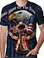 cheap Men's Tees & Tank Tops-Men's T shirt Shirt 3D Print Graphic Animal Plus Size Print Short Sleeve Daily Tops Basic Casual Round Neck Blue Black Orange / Summer