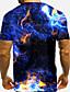 levne Pánská tílka-Pánské Tričko 3D tisk Grafika 3D 3D Tisk Krátký rukáv Denní Topy Základní Na běžné nošení Vodní modrá