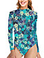 cheap One-piece swimsuits-Women's One Piece Swimsuit Tummy Control Print Floral Blue Swimwear Bodysuit High Neck Bathing Suits New Vacation Sexy / Party