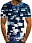 halpa Miesten t-paidat ja hihattomat paidat-Miesten T-paita 3D-tulostus Geometrinen 3D-tulostus Painettu Lyhythihainen Kausaliteetti Topit Vapaa-aika Muoti Mustavalkoinen