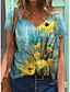 cheap Women's T-shirts-Women's T shirt Floral Graphic Print V Neck Tops Basic Beach Basic Top Blue Purple Blushing Pink
