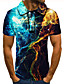 cheap Men's Polos-Men's Golf Shirt 3D Print Lightning Graphic Prints Button-Down Short Sleeve Street Tops Casual Fashion Cool Blue / Sports
