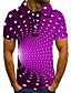 cheap Men's Polos-Men's Golf Shirt 3D Print Optical Illusion Geometry Button-Down Short Sleeve Street Tops Casual Fashion Cool Purple / Sports