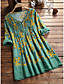 cheap New in Dresses-Women's Shirt Dress Short Mini Dress Long Sleeve Floral Ruched Ruffle Patchwork Spring Summer V Neck Casual Cotton 2021 L XL XXL 3XL 4XL 5XL / Print