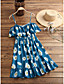 cheap Casual Dresses-Women's Strap Dress Knee Length Dress White Blue Red Black Khaki Short Sleeve Floral Leopard Graphic Prints Print Spring Summer Off Shoulder Basic Chic & Modern 2021 S M L XL 2XL