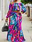 cheap Plus Size Maxi Dresses-Women's Plus Size Dress Two Piece Dress Maxi long Dress Lantern Sleeve Long Sleeve Graphic One Shoulder Hot Spring Summer Purple L XL 2XL 3XL 4XL