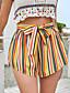 cheap Women's Clothing-LITB Basic Women's Striped Rainbow Shorts Tie Front Short Pants Beach Holiday