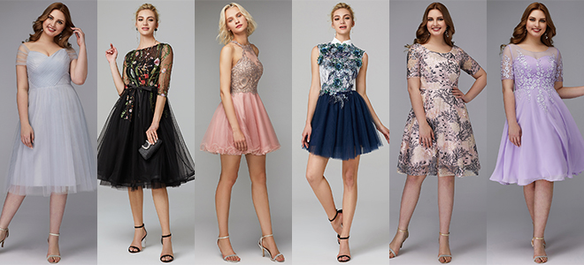 d2a3bf9f2fd Dainty lace gowns with sleeves and strapless cocktail dresses embellished  with dazzling sequins