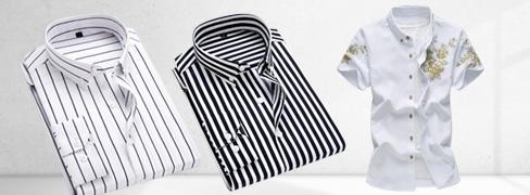 クールデザイン プリント地メンズシャツ