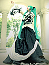 Inspirerad av Vocaloid Hatsune Miku Video Spel Cosplay-kostymer cosplay Suits / Klänningar Lappverk Långärmad Klänning Krage Midje accessoar Kostymer / Spets / Satin