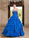 Ball Gown Strapless Floor Length Organza Vintage Inspired Formal Evening / Quinceanera Dress 2020 with Beading / Cascading Ruffles