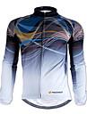 Nuckily 男性用 長袖 サイクリングジャージー 冬 ポリエステル グレー 縞柄 バイク ジャージー トップス マウンテンサイクリング ロードバイク 保温 高通気性 スポーツ 衣類
