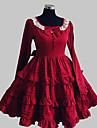 Prinsessa Sweet Lolita Klänningar Dam Flickor Cotton Japanska Cosplay-kostymer Röd Enfärgad Rosett Spets Långärmad Knälång