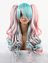 Blå och rosa färg 68cm Cosplay Lolita Wave Wig