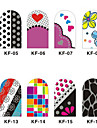 12 pcs 3D Nail Stickers Abstrakt / Tecknat Vackert / ABS