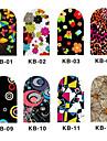 12 pcs ABS 3D Nagelstickers Till finger nagel konst manikyr Pedikyr Blomma / Tecknat / 3D Nail Stickers