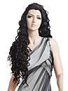 Syntetiska peruker Naturligt vågigt Spanska Curly Chic och modern Lockigt Spetsfront Peruk Lång Svart Syntetiskt hår 27 tum Dam Svart