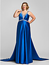 A-Line V Neck / Halter Neck Floor Length Satin Open Back Formal Evening / Military Ball Dress 2020 with Beading / Crystals / Side Draping