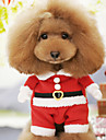Hund Dräkter / Kostymer Vinter Hundkläder Röd Kostym Cotton Tecknat Cosplay Jul XS S M L XL